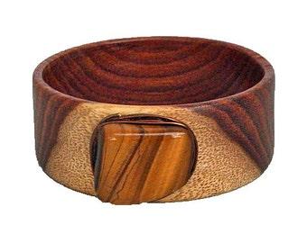 Wooden Bracelet/Bangle with Tiger's Eye