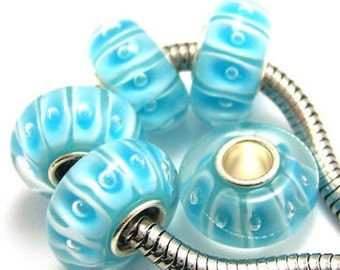 Large Hole Beads, European Charms, Glass & Lampwork Large Hole Beads, Sterling Silver Large Hole Beads, Large Hole Glass Bead, Blue Beads