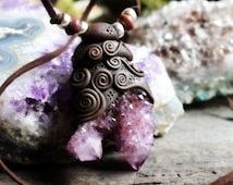 Spirit Quartz (Cactus Quartz) Crystal and Handcrafted Clay Necklace... Clay with Healing Gemstone and Crystal Jewelry.
