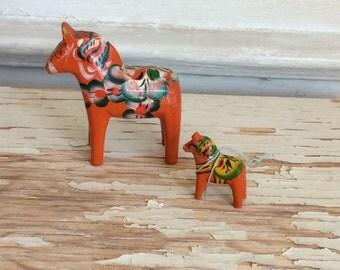 2 Vintage Swedish Dala Horses, Wooden Hand Painted Folk Art