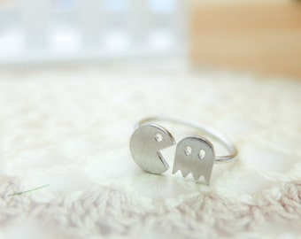 Adjustable Pac Man and Ghost ring silver tone Pacman ring