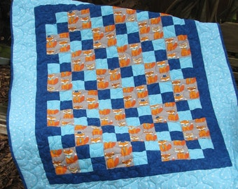 Baby Quilt - Wall Hanging - Fox Quilt - Blue Orange and Turqoise Quilt - Quilt and Matching Bib and Burp Cloth Shower Gift For Baby Boy