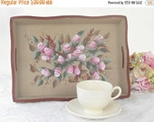 On Sale Hand Painted Tole Roses Wooden Tray, Rectangle, Tea Parties, Shabby Chic, Cottage Style, Wood