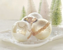 Vintage Blown Glass Gold and White Christmas Tree Ornaments Set of 4 Holiday Decor Tree Trimming Wedding Krebs Mercury Glass, Collection 3