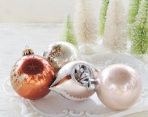 Vintage Blown Glass Copper and White Christmas Tree Ornaments Set of 4 Holiday Decor Tree Trimming  Krebs Mercury Glass, Collection 5