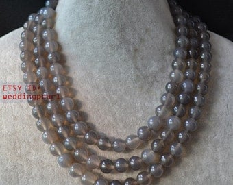 gray agate necklace,triple strand 16-18 inch 10mm gray bead necklace,gray necklace,statement necklace, women necklaces,girl necklace