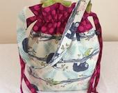 Sloth Love, Project Bag Sock Knitting Crochet Travel LunchBag Handbag