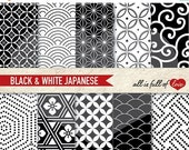 50% Off BLACK & WHITE Digital Paper Pack ORIENTAL Background Patterns  Chinese New Year Paper 12/15