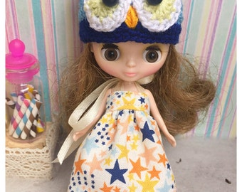 """Petite Blythe / Little Dal Outfit : """"Star and Owl Set"""" (Dress and Crochet hat)"""