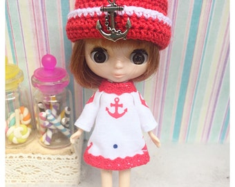 """Petite Blythe / Little Dal Outfit : """"Red Navy Set"""" (Dress and Crochet hat)"""