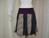 Upcycled wool....school girl skirt...rich carmel, grey and deep purple....medium....