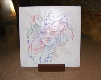 """Laser engraved 8""""x8"""" ceramic tile Carnivale Mask"""