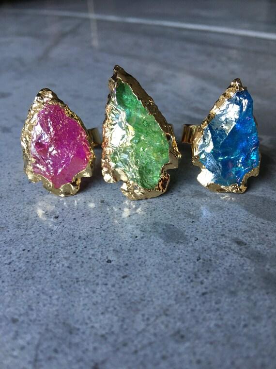 Arrowhead Crystal Boho Rings