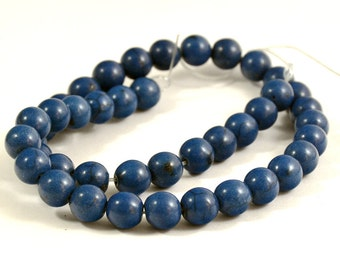 One Full Strand---Round Blue Turquoise Beads----10mm ----about 40Pieces----15.5inch strand