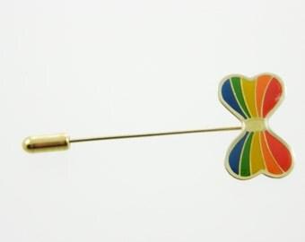 Vintage Rainbow Bow Stick Pin - BR002b