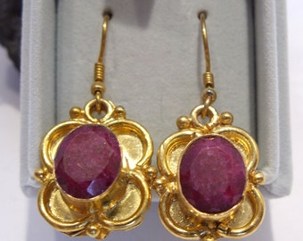 Genuine Ruby Wire Dangle Earrings in a Gold Plated Setting by Stauer Ruby is the July Birthstone