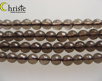 Smoky quartz faceted round beads 6mm 6.5inch strand