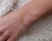 Simple Gold Bead Bracelet / Chain Bracelet, Stacking Bracelet, Everyday Bracelet, Minimal Bracelet