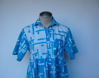 80s turquoise geometric print babydoll button up dress with collar
