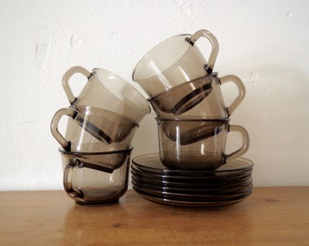 Arcoroc Glass Tea Cups and Saucers - Smoky Brown Glass Tea Set