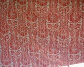 Vintage Comforter and 4 Matching Pillow Shams, Queen Bed Size, Floral Print, Geranium Red and White, Reversible