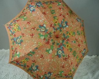 Vintage Child's Sun Umbrella, Very Colorful, Cartoon Type Animals, Figural Handle, Photo Prop, Childs's Room Decor