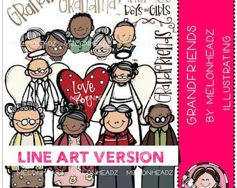 Grandparents clip art - Grandfriends - LINE ART
