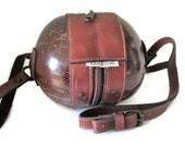 Vintage The Original COCOBAG, Leather and Coconut Campy, Steampunk, Handbag, Crossbody Shoulder bag.