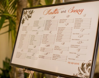 Damask Wedding Seating Chart with Bride & Groom Names