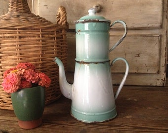 Enamel Double Coffee Pot Chippy French White Green Pastel French Farmhouse