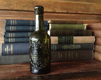 Antique Green Glass Beer Bottle, Late Victorian English Burton on Trent Bindley and Co Embossed  Crown Trademark