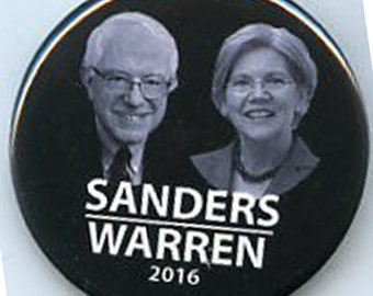 Bernie Sanders Elizabeth Warren 2016 button