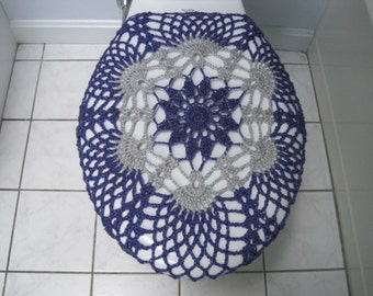 Crochet Toilet Seat Cover or Crochet Toilet Tank Lid Cover   eggplant light  grey  Crochet Toilet Tank Lid Cover or Crochet Toilet Seat Cover. Light Grey Toilet Seat. Home Design Ideas