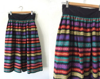 Ikat Striped Skirt - Guatemalan Style Color Block 90s Boho Chic Hippie High Waist Elastic Back Flowy Peasant Skirt - Womens Small