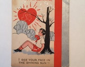 Art Deco Valentine / Vintage Retro Boy Valentine Quad-druple Fold 1930's-1940's Used