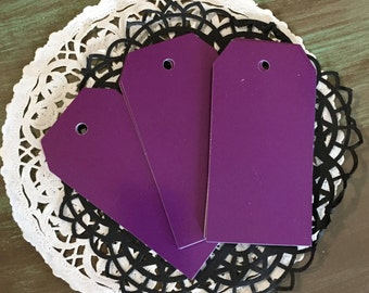 """20 Tags PURPLE Size 3 5/8"""" x 1 7/8"""" / Bright PURPLE Gift Tags for Scrapbooking, Altered Art, MIxed Media"""