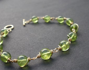 Natural Gemstone Peridot 6.5mm Round Beads 14kt Gold Filled Wire Wrapped Elegant Vintage Style Bracelet, big size Peridot