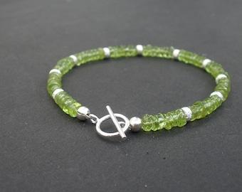 Natural Gemstone Peridot Heishi Shape - 925 Sterling Silver Stardust Beads August Birthstone Bracelet