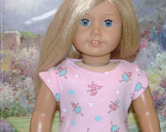 Ballerina Cotton Knit Tee Shirt for American Girl Dolls