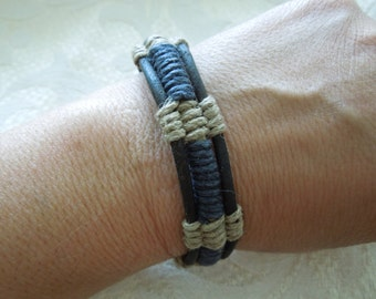Vintage Bracelet, Rope, Three Layers, Brown and Black, Hand Made