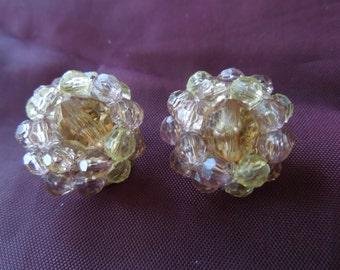 Vintage Liz Claiborne Earrings, Gold Toned Clip On Type, Yellow Clear Clusters, Excellent Condition