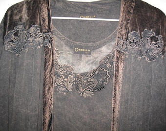 Ornella Viscosa Rayon Blouse, Renaissance Sleeves, Velveteen trim, Blackish Brown Mix, Large