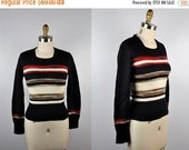 SALE 70s Wool Sweater by Young Edwardian - Knit Sweater - Striped Sweater - Long Sleeves Pullover Boho Hippie Gypsy Festival Warm Winter siz