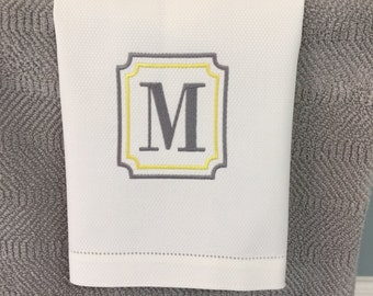 Hand Towel Grey and Yellow Monogrammed