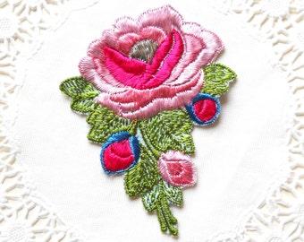 vintage 1930's silk applique art nouveau pink floral applique antique applique pink flower