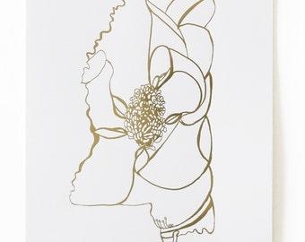 Mississippi Magnolia Gold Foil Art Print