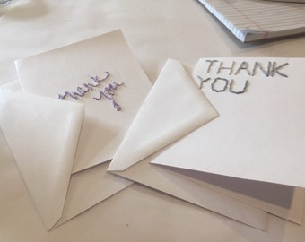 Handstitched cards, thank you cards, embroidered cards, greeting cards, cards with yarn