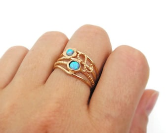 Opal ring. Gold opal ring. Opal gold ring. Wide gold ring. Wide ring. Wide opal ring. Opal dainty ring. Dainty gold ring. (sr9921-1335)
