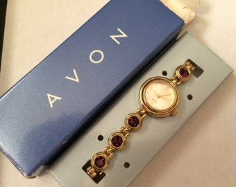 Vintage AVON Goldtone February Sparkling Birthstone Watch