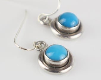 Small Round Silver Tone Dangle Drop Stud Earrings with Blue Glass Domed Setting on New 925 Silver Earwires